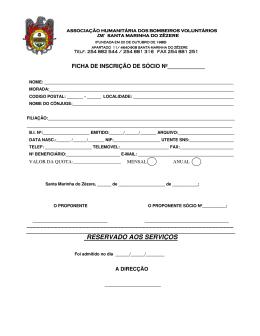 reservado aos serviços - Bombeiros Voluntários de Santa Marinha