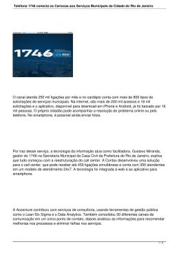 Telefone 1746 conecta os Cariocas aos Serviços