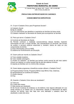 Prova Entrevistador - Prefeitura de Cedro