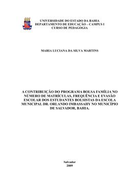 A CONTRIBUIÇÃO DO PROGRAMA BOLSA FAMÍLIA NO