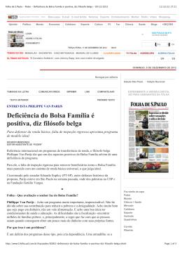 Deficiência do Bolsa Família é positiva, diz filósofo belga