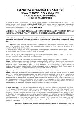 Gabarito da Prova de Sociologia do 2º trimestre (prof. Batista)