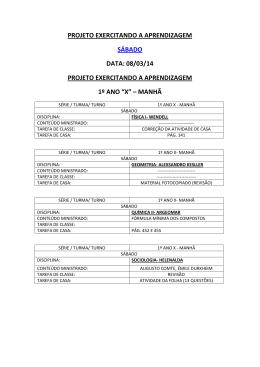"""08/03/14 projeto exercitando a aprendizagem 1º ano """"x"""" – manhã"""