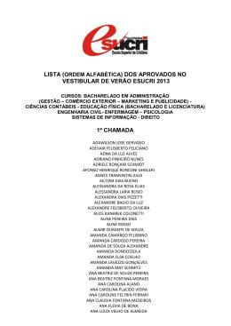 lista dos aprovados no vestibular de verão esucri 2013