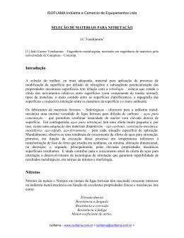 SELEÇÃO DE MATERIAIS PARA NITRETAÇÃO