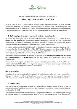 Plano Agrícola e Pecuário 2015/2016