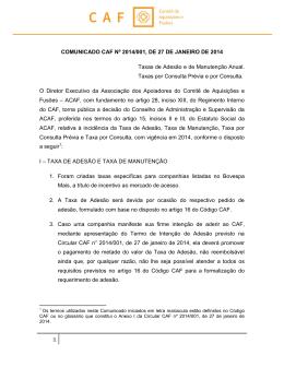 COMUNICADO CAF Nº 2014/001, DE 27 DE JANEIRO DE 2014