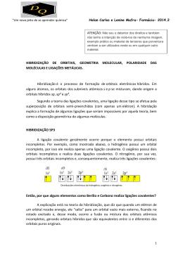 HIBRIDIZAÇÃO DE ORBITAIS, GEOMETRIA MOLECULAR
