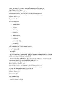 CURSO PREPARATÓRIO 2016 /1 - INSCRIÇÕES ABERTAS ATÉ