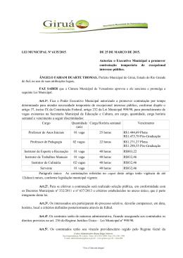 Autoriza o Executivo Municipal a promover contratação temporária