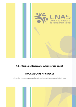 Informe CNAS nº 08/2015 - MINISTÉRIO DO Desenvolvimento