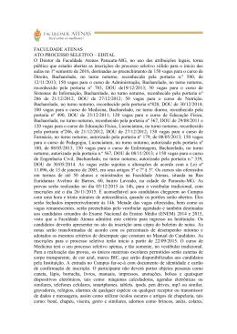 FACULDADE ATENAS ATO PROCESSO SELETIVO – EDITAL O