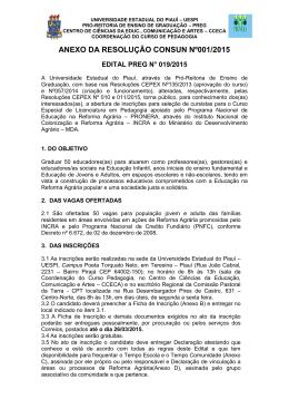 Edital 019-2015 PEDAGOGIA DA TERRA