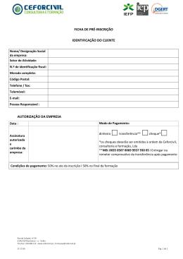 Fazer da Ficha de Inscrição para Empresas