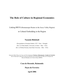 The Role of Culture in Regional Economics