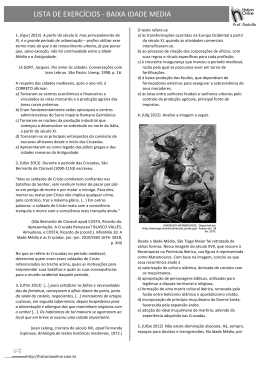 LISTA DE EXERCÍCIOS -‐ BAIXA IDADE MEDIA