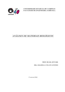 ANÁLISES DE MATERIAIS BIOLÓGICOS