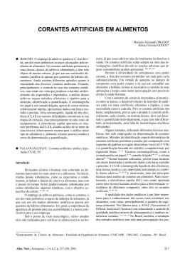 CORANTES ARTIFICIAIS EM ALIMENTOS