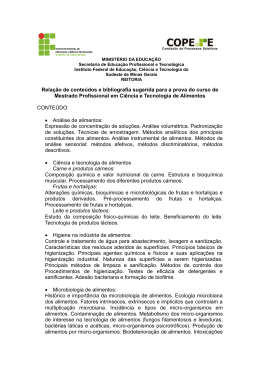 Relação de conteúdos e bibliografia sugerida para a prova do curso