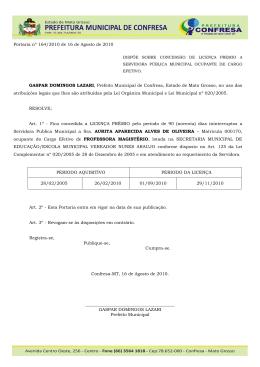164 - PORTARIA - LICENÇA PREMIO