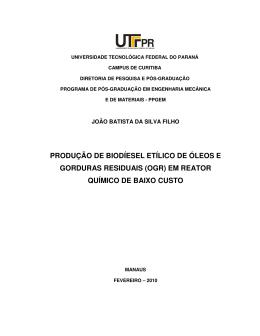 produção de biodíesel etílico de óleos e gorduras residuais
