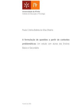 Paula Cristina Batista da Silva Oliveira A formulação de questões a