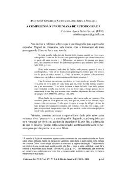 A COMPREENSÃO UNAMUNIANA DE AUTOBIOGRAFIA Cristiane