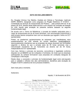 NOTA DE ESCLARECIMENTO Eu, Douglas Vinícius Vaz Martins