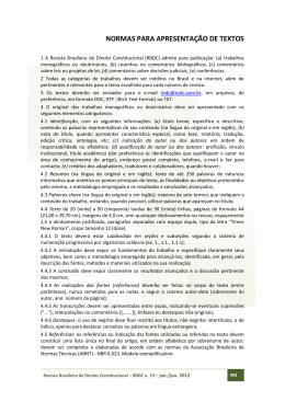 NORMAS PARA APRESENTAÇÃO DE TEXTOS