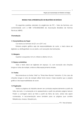 REGRAS PARA APRESENTAÇÃO DE RELATÓRIO DE
