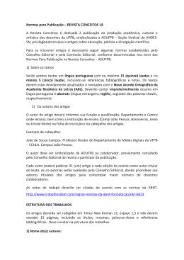 Normas para Publicação – REVISTA CONCEITOS 18 A Revista
