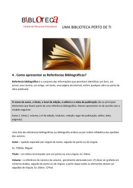 Como apresentar as referências bibliográficas