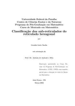 Classificação dos sub-reticulados do reticulado hexagonal