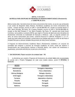Edital 031 - 2015 - Disciplinas de Equalização 2015-2