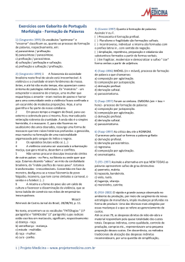 Exercícios com Gabarito de Português Morfologia