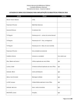 listagem de obras selecionadas para