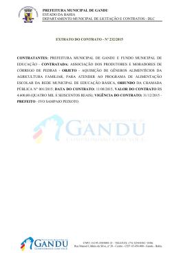 Extrato do Contrato - Nº 232/2015 ? Objeto