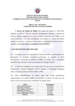 POLÍCIA MILITAR DA BAHIA DEPARTAMENTO DE ENSINO