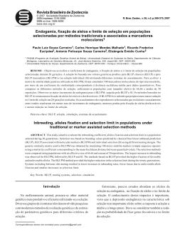 Revista Brasileira de Zootecnia Endogamia, fixação de alelos e