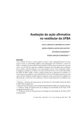 Avaliação da ação afirmativa no vestibular da UFBA