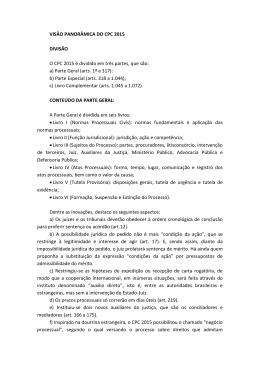 VISÃO PANORÂMICA DO CPC 2015 DIVISÃO O CPC