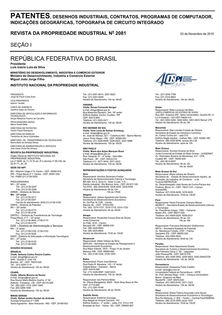 42cb60d09 DIRETORIA DE PATENTES - Revista da Propriedade Industrial
