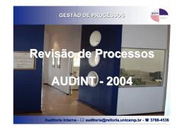 GESTÃO DE PROCESSOS Auditoria Interna