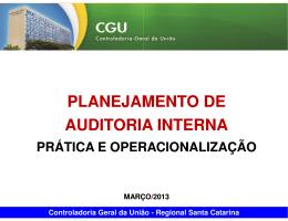 PLANEJAMENTO DE AUDITORIA INTERNA PLANEJAMENTO DE