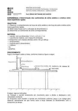 EXPERIÊNCIA 3 Determinação dos coeficientes de atrito estático e