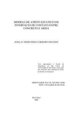 modelo de atrito estático em interfaces de contato entre concreto e