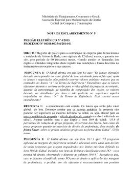 Nota de Esclarecimento n° 5 - Ministério do Planejamento