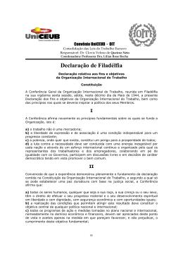 Declaração de Filadélfia - Organização Internacional do Trabalho