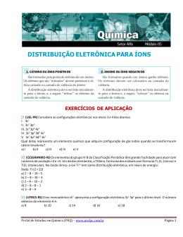 distribuição eletrônica para íons