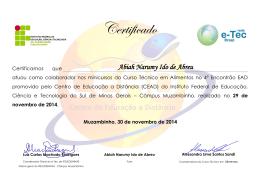 Certificado de Apoio - Técnico em Alimentos 2014